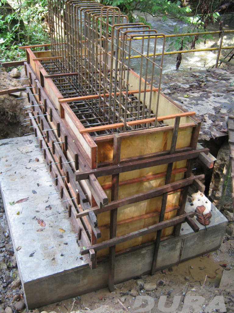 Construction of RC pad footing as abutments.